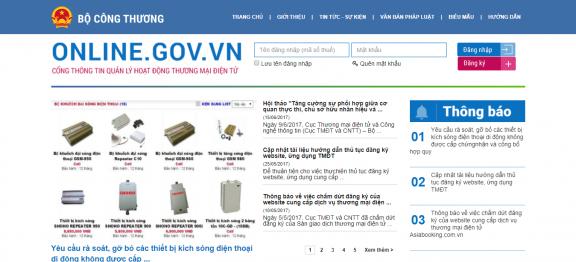 Thông Báo – Đăng Ký Website Với Bộ Công Thương